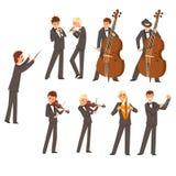 Os músicos da orquestra e do maestro sinfônicos, pessoa que joga vários instrumentos musicais vector a ilustração na ilustração do vetor