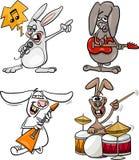Os músicos da rocha dos coelhos ajustaram desenhos animados Fotografia de Stock