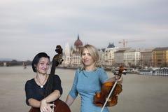 Os músicos jogam a imagem do violino e do contrabaixo no fundo da cidade fotos de stock royalty free