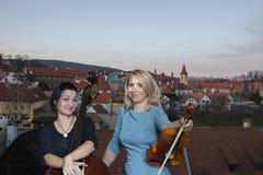 Os músicos jogam a imagem do violino e do contrabaixo no fundo da cidade fotografia de stock royalty free