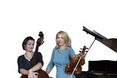 Os músicos jogam o violino e a imagem isolada contrabaixo no fundo branco fotos de stock royalty free