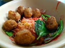 Os macarronetes deliciosos da carne da bola do macarronete fizeram fácil imagem de stock