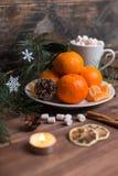 Os mandarino frescos em uma placa com marshmallows em um copo e em uma canela fotos de stock