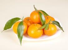Os mandarino na placa Fotos de Stock Royalty Free
