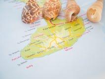 Os mapas do curso de Bali com destino popular são praia de Tuban, praia de Kuta, praia de Legian, praia de Jimbaran Fotos de Stock Royalty Free