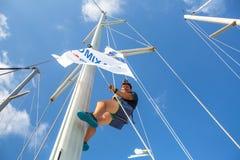 Os marinheiros participam na regata da navigação Fotografia de Stock