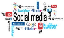 Os media sociais exprimem a nuvem Fotografia de Stock