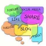 Os media sociais exprimem a nuvem Imagens de Stock