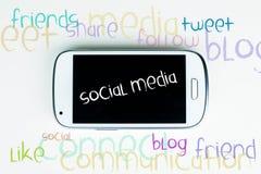 Os media sociais exprimem a nuvem Fotos de Stock