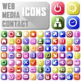 Os meios de néon da Web do correio do vetor contactam botões da Web Fotos de Stock
