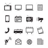 Os meios de propaganda mostram em silhueta ícones, mercado e o vetor satisfeito da televisão, do rádio e do Internet Imagens de Stock Royalty Free