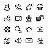 Os meios sociais alinham ícones com fundo branco - Vector a ilustração ilustração royalty free