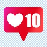 Os meios sociais gostam do ícone do coração Símbolo dos gostos 10000 ilustração stock