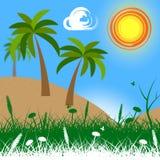 Os meios tropicais da ilha vão na licença e no atol Fotografia de Stock Royalty Free