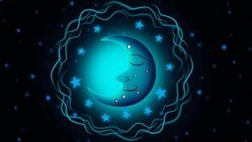Os melhores desenhos animados e as estrelas da lua azul de céu noturno video estoque