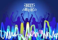 Os melhores povos da silhueta da música que dançam o cartaz de Live Concert Banner Colorful Musical Imagens de Stock Royalty Free