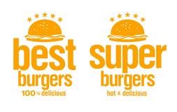 Os melhores sinais dos hamburgueres. Imagem de Stock