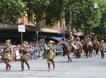 Os membros da tropa do cavalo claro participam na parada 2019 do dia de Austrália em Melbourne fotos de stock royalty free