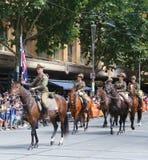 Os membros da tropa do cavalo claro participam na parada 2019 do dia de Austrália em Melbourne imagem de stock