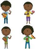 Os meninos afro-americanos com levam embora o alimento ilustração stock