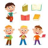 Os meninos bonitos ajustados do vetor da cor estão com livros e saco do miúdo III ilustração do vetor