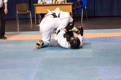 Os meninos competem no Kobudo Foto de Stock