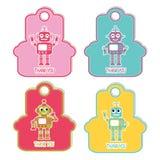 Os meninos do robô no caráter colorido do quadro apropriado para o presente de aniversário etiquetam ilustração stock