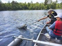 Os meninos que pescam em uma canoa travam um walleye Fotos de Stock