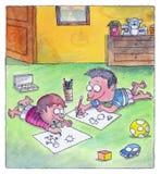 Os meninos são desenhos no assoalho Imagem de Stock Royalty Free