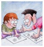 Os meninos são desenhos no assoalho Imagens de Stock Royalty Free