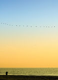 Os Mens acoplam a vista para fora ao mar Foto de Stock Royalty Free