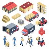 Os mercadorias abrigam os ícones isométricos ajustados ilustração royalty free