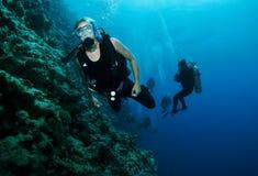 Os mergulhadores do mergulhador nadam no furo azul, Dahab fotografia de stock