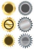Os metais circundam Stickers_eps em branco Fotografia de Stock Royalty Free