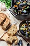 Os mexilhões seriram com pão como um almoço pelo mar Imagem de Stock Royalty Free