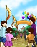 Os miúdos e as famílias vão a uma feira de divertimento Fotos de Stock