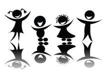 Os miúdos mostram em silhueta em preto e branco Imagens de Stock Royalty Free