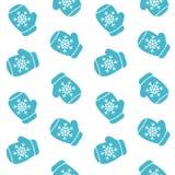 Os mitenes azuis bonitos com luva dos flocos de neve modelam o vetor sem emenda Foto de Stock