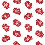 Os mitenes vermelhos bonitos com luva dos flocos de neve modelam o vetor sem emenda Fotografia de Stock