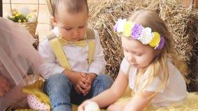 Os modelos da menina e do menino são fotografados com uma galinha vídeos de arquivo