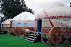 Os modelos de Yurt mostrados em VDNKH estacionam em Moscou Fotos de Stock Royalty Free