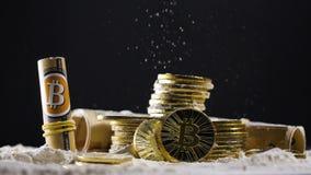 Os modelos e as cédulas reais de Bitcoin colocam no pó filme