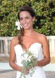 Os modelos no casamento attire durante um desfile de moda em Arenzano imagens de stock royalty free