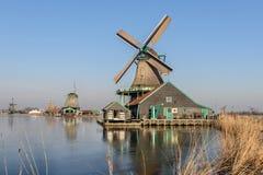 Os moinhos de vento em Zaanse Schans Fotografia de Stock