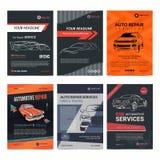 Os moldes da disposição do negócio de serviços da reparação de automóveis ajustaram-se, capa de revista do automóvel, folheto da  ilustração stock