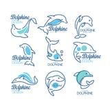 Os moldes do logotipo de Dolphine ajustaram-se, elementos náuticos do projeto em ilustrações azuis do vetor das cores em um fundo Fotografia de Stock