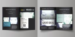 Os moldes do negócio para o bi dobram o folheto, compartimento, inseto, brochura Cubra o molde do projeto, disposição do vetor no ilustração stock