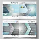 Os moldes do negócio para o bi quadrado do projeto dobram o folheto, o inseto, a brochura ou o informe anual ilustração stock