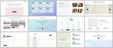 Os moldes do vetor para o Web site projetam, apresentações mínimas, portfólio UI, UX, GUI Linha teste padrão da arte com conexão ilustração do vetor
