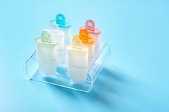 Os moldes plásticos do formulário do lolly do gelado estão no suporte do plexiglás imagem de stock royalty free